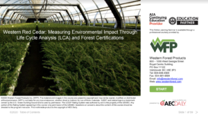 AIA course life cycle assessment of cedar